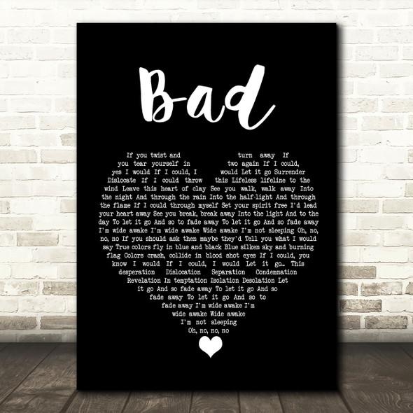 U2 Bad Black Heart Song Lyric Wall Art Print