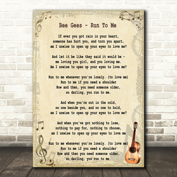 Bee Gees Run To Me Song Lyric Quote Print