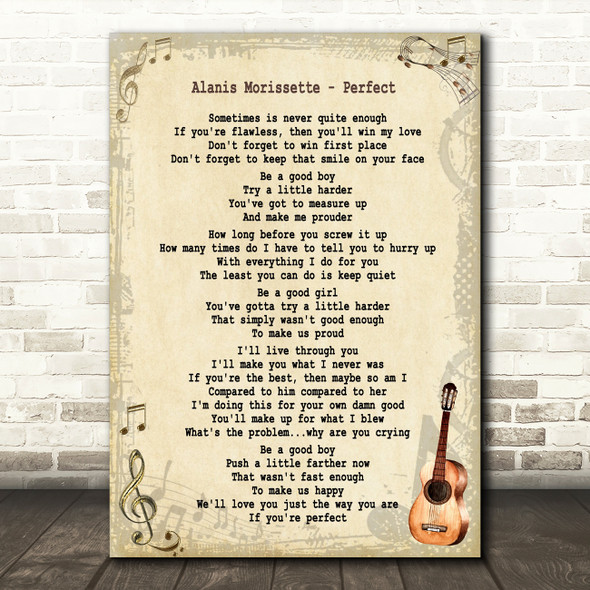 Alanis Morissette Perfect Song Lyric Quote Print
