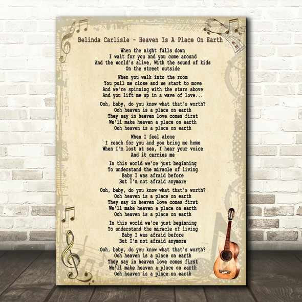 Belinda Carlisle Heaven Is A Place On Earth Song Lyric Quote Print