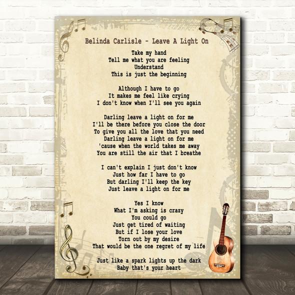 Belinda Carlisle Leave A Light On Song Lyric Quote Print