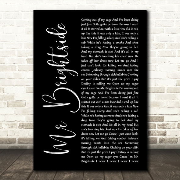 The Killers Mr Brightside Black Script Song Lyric Wall Art Print