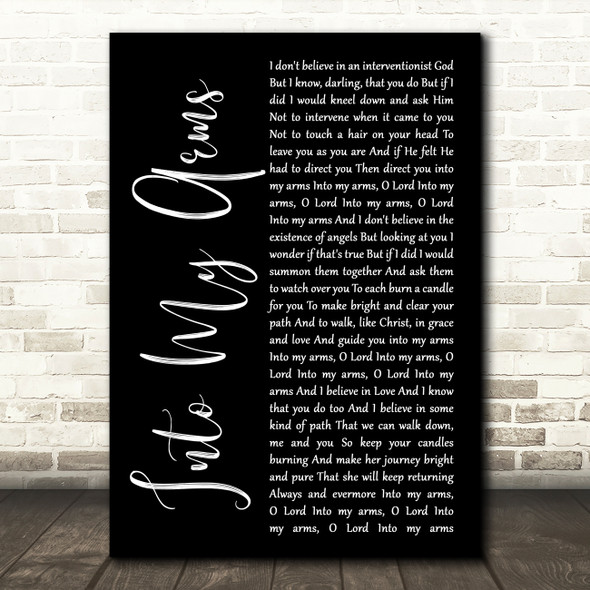 Nick Cave & The Bad Seeds Into My Arms Black Script Song Lyric Wall Art Print