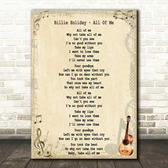Billie Holiday All Of Me Song Lyric Quote Print