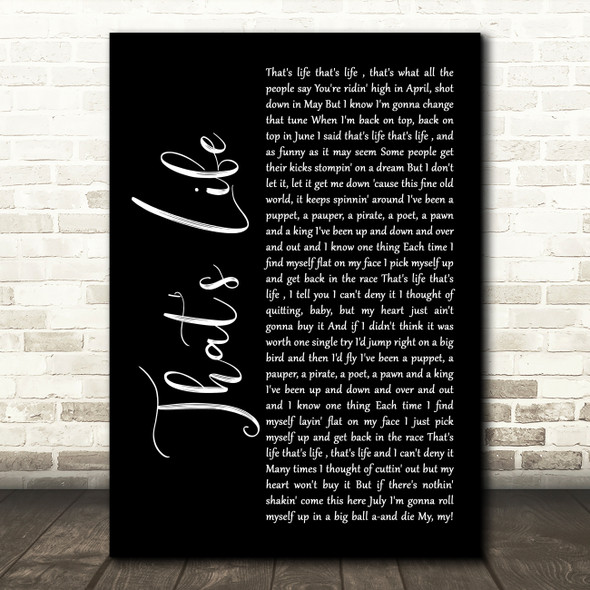 Frank Sinatra That's Life Black Script Song Lyric Wall Art Print