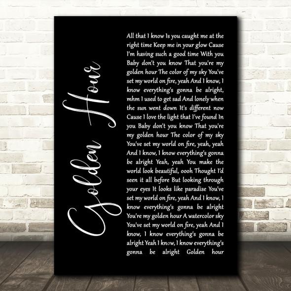 Kacey Musgraves Golden Hour Black Script Song Lyric Wall Art Print