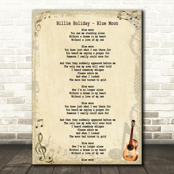 Billie Holiday Blue Moon Song Lyric Quote Print