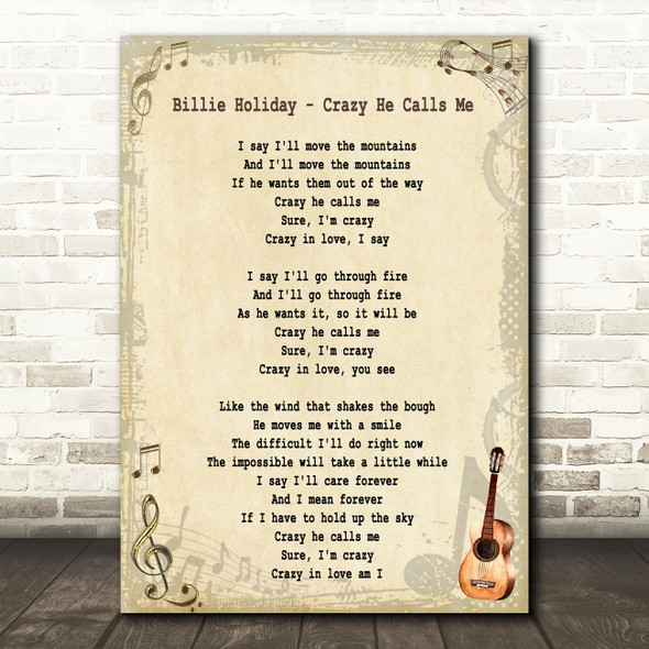 Billie Holiday Crazy He Calls Me Song Lyric Quote Print