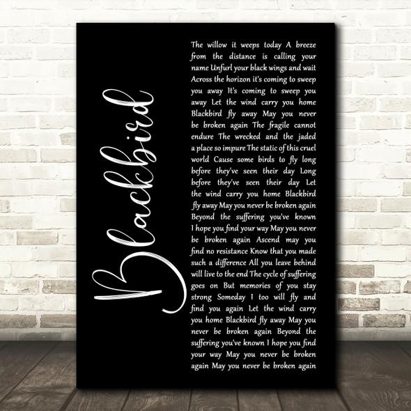 Alter Bridge Blackbird Black Script Song Lyric Wall Art Print