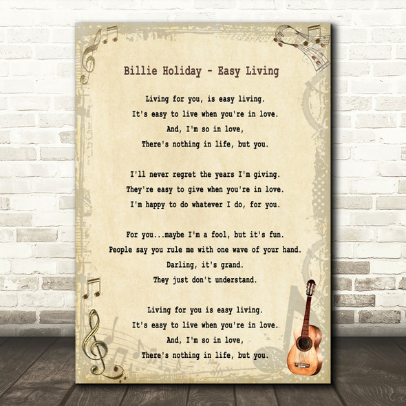 Billie Holiday Easy Living Song Lyric Quote Print