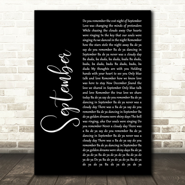 Earth, Wind And Fire September Black Script Song Lyric Wall Art Print