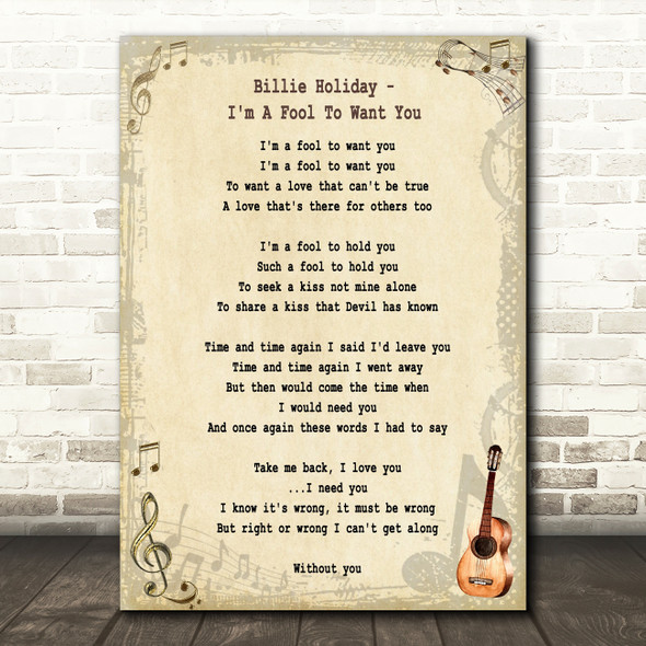 Billie Holiday I'm A Fool To Want You Song Lyric Quote Print