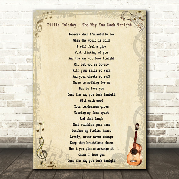 Billie Holiday The Way You Look Tonight Song Lyric Quote Print