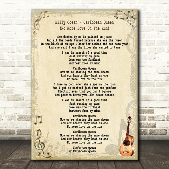 Billy Ocean Caribbean Queen (No More Love On The Run) Song Lyric Quote Print