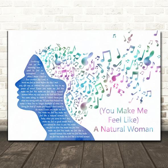 Aretha Franklin (You Make Me Feel Like) A Natural Woman Colourful Music Note Hair Song Lyric Wall Art Print