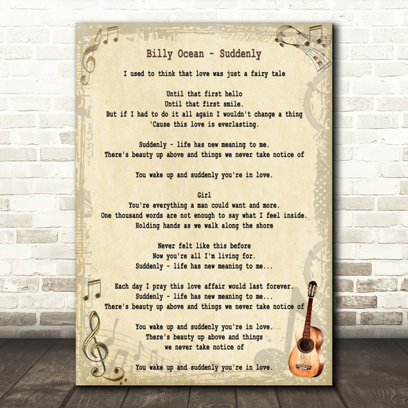 Billy Ocean Suddenly Song Lyric Quote Print