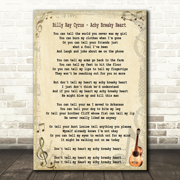 Billy Ray Cyrus Achy Breaky Heart Song Lyric Quote Print