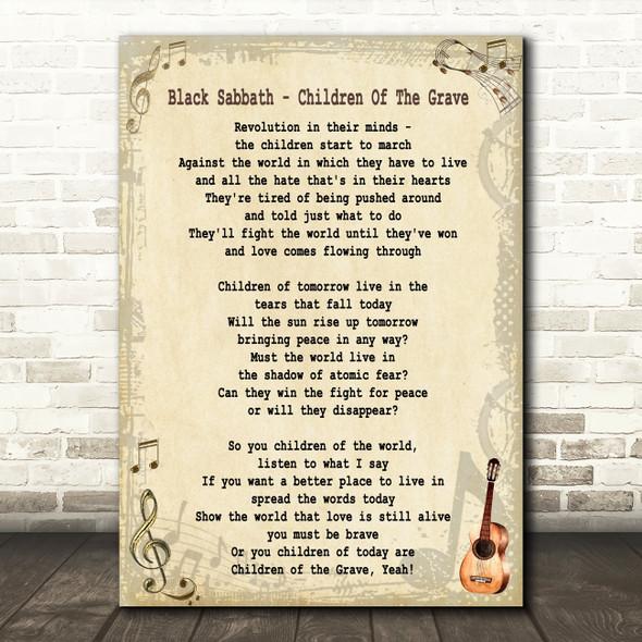 Black Sabbath Children Of The Grave Song Lyric Quote Print