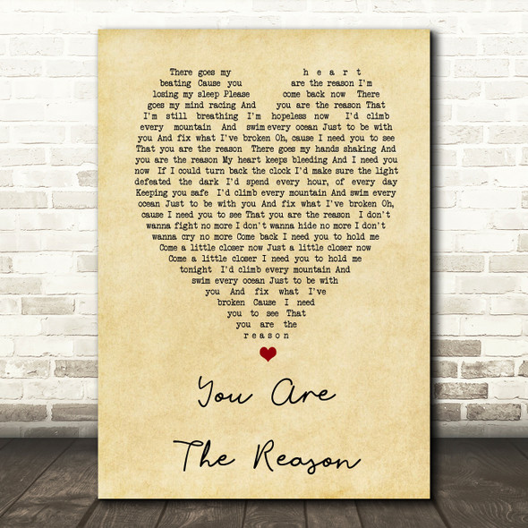 Calum Scott You Are The Reason Vintage Heart Song Lyric Quote Print