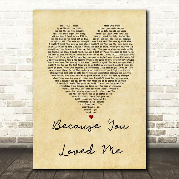 Celine Dione Because You Loved Me Vintage Heart Song Lyric Quote Print