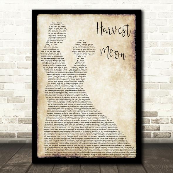 Neil Young Harvest Moon Man Lady Dancing Song Lyric Wall Art Print