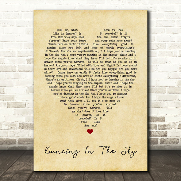 Dani And Lizzy Dancing In The Sky Vintage Heart Song Lyric Quote Print
