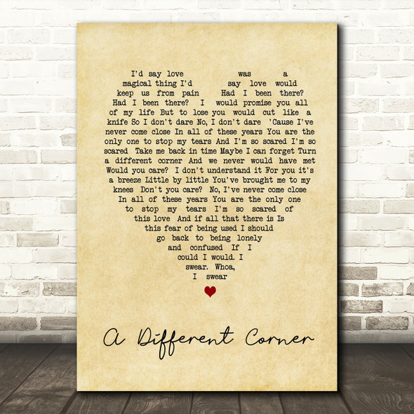 George Michael A Different Corner Vintage Heart Song Lyric Quote Print