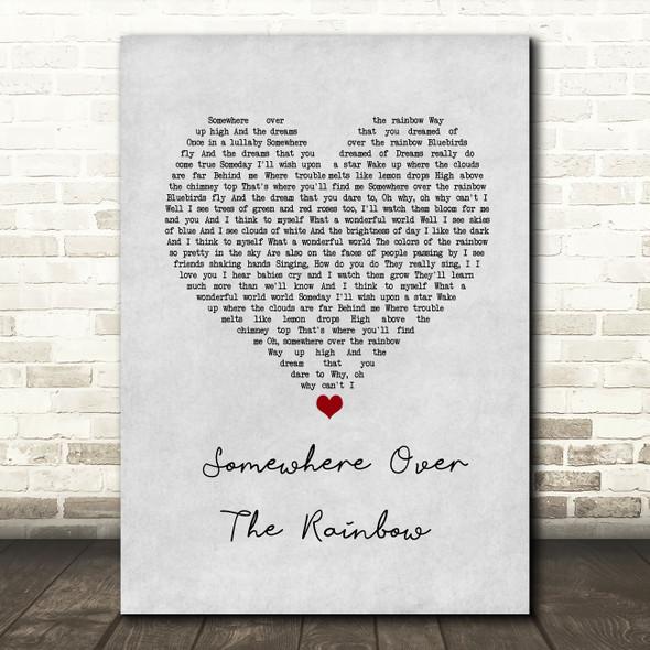 Israel Kamakawiwo'ole Somewhere Over The Rainbow Grey Heart Song Lyric Wall Art Print