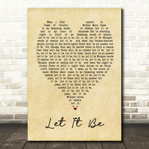 The Beatles Let It Be Vintage Heart Song Lyric Quote Print