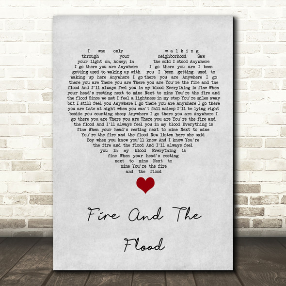 Vance Joy Fire And The Flood Grey Heart Song Lyric Wall Art Print