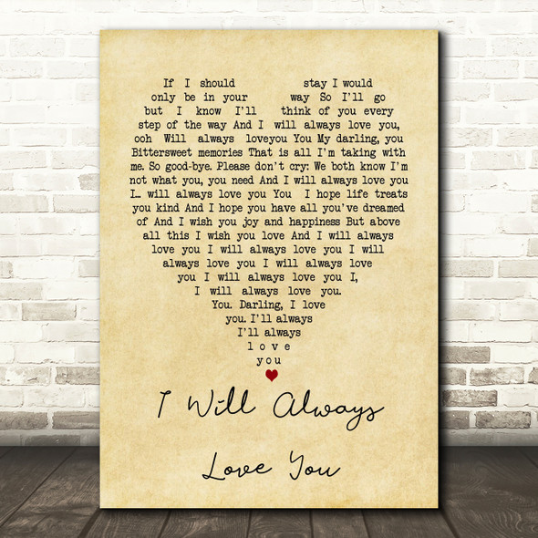 Whitney Houston I Will Always Love You Vintage Heart Song Lyric Quote Print