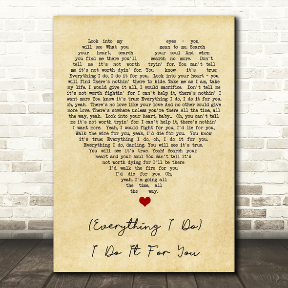 Everything I Do I Do It For You Bryan Adams Vintage Heart Quote Song Lyric Print