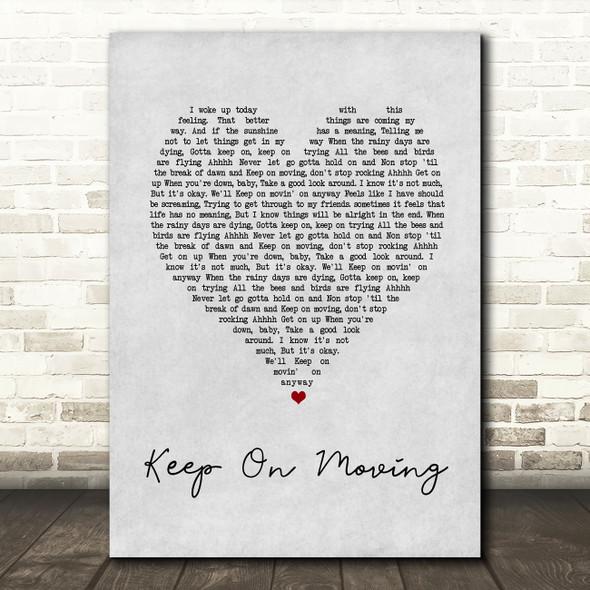 5ive Keep On Moving Grey Heart Song Lyric Wall Art Print