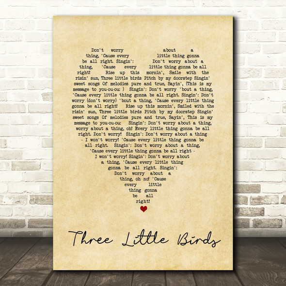 Three Little Birds Bob Marley Vintage Heart Quote Song Lyric Print
