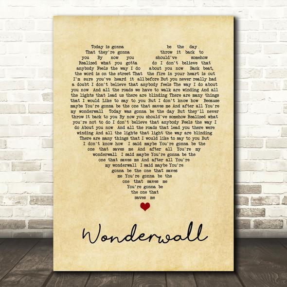 Wonderwall Oasis Vintage Heart Quote Song Lyric Print