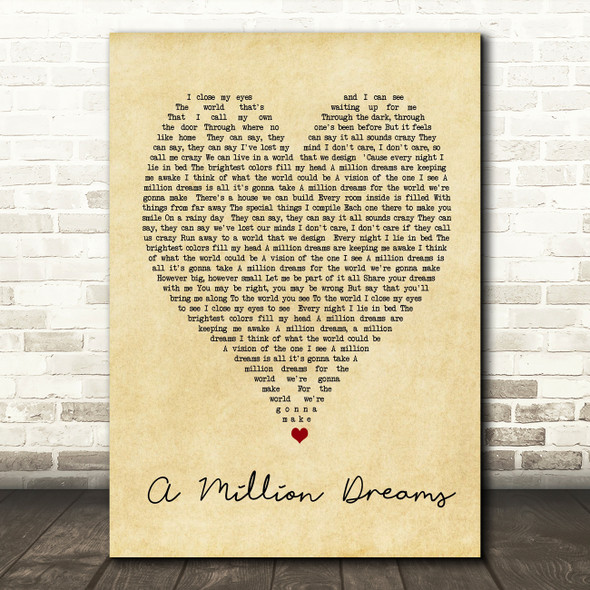 A Million Dreams The Greatest Showman Vintage Heart Song Lyric Quote Print