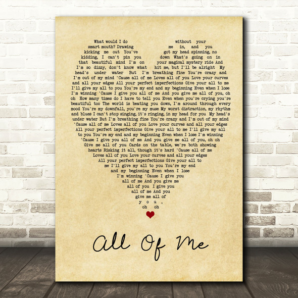 All Of Me John Legend Vintage Heart Song Lyric Quote Print