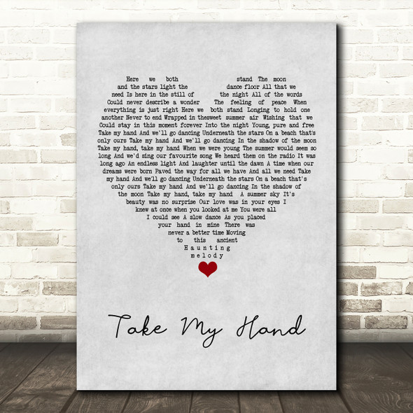 Skerryvore Take My Hand Grey Heart Song Lyric Wall Art Print
