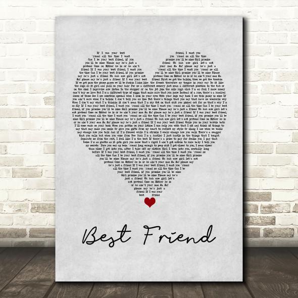 50 Cent Best Friend Grey Heart Song Lyric Wall Art Print