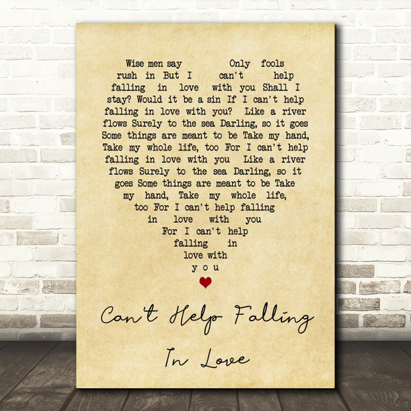 Can't Help Falling In Love Elvis Presley Vintage Heart Song Lyric Quote Print