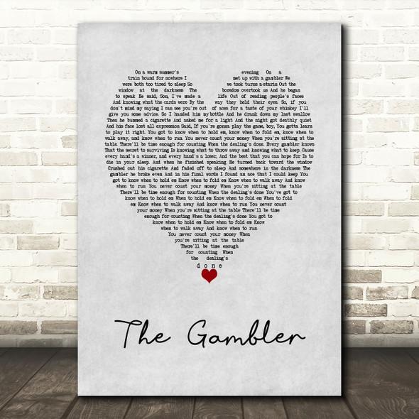 Kenny Rogers The Gambler Grey Heart Song Lyric Wall Art Print