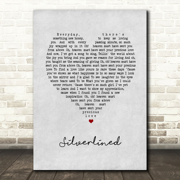 Xyconstant Silverlined Grey Heart Song Lyric Wall Art Print