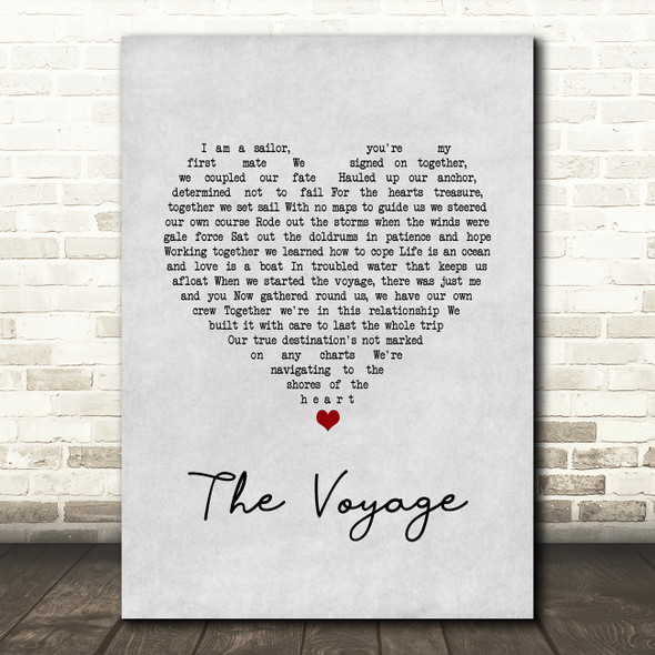 Christy Moore The Voyage Grey Heart Song Lyric Wall Art Print