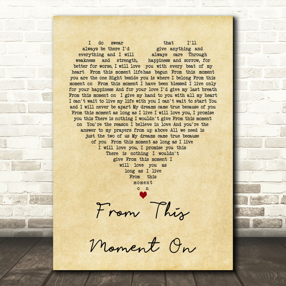From This Moment On Shania Twain Vintage Heart Song Lyric Quote Print