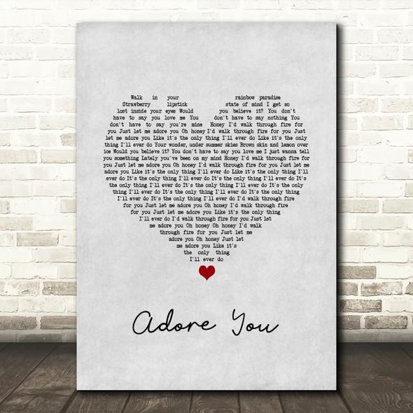 Harry Styles Adore You Grey Heart Song Lyric Wall Art Print