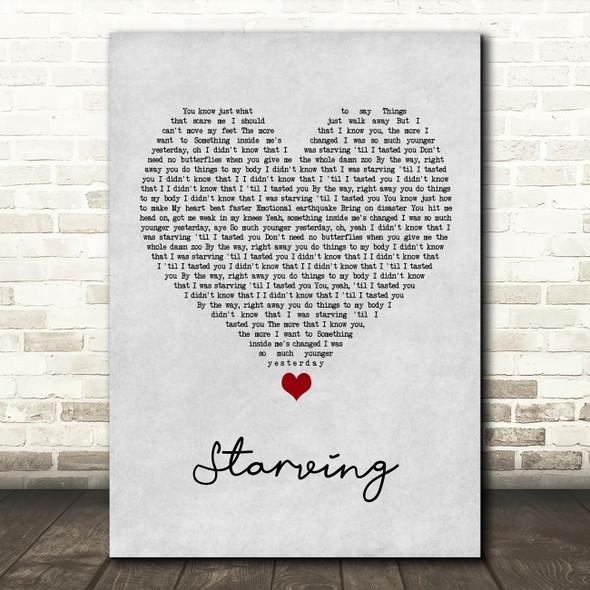 Hailee Steinfeld Starving Grey Heart Song Lyric Wall Art Print