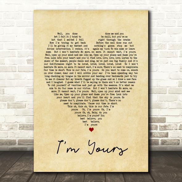 I'm Yours Jason Mraz Vintage Heart Song Lyric Quote Print