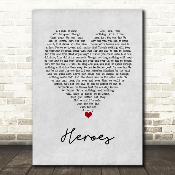 David Bowie Heroes Grey Heart Song Lyric Wall Art Print