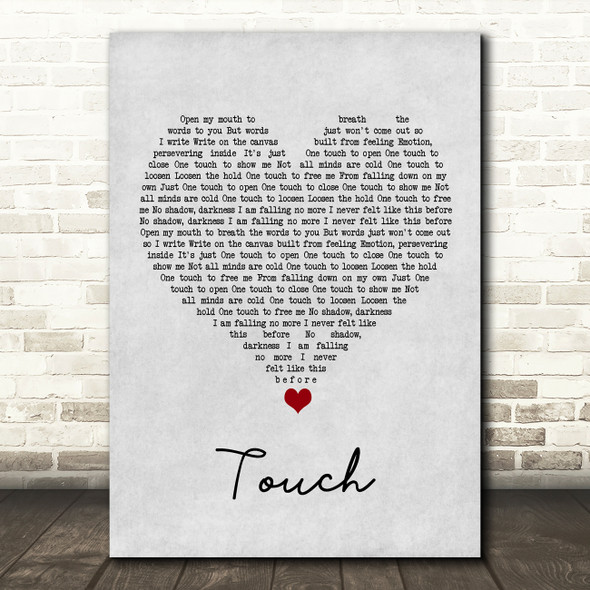 Hybrid Minds Touch Grey Heart Song Lyric Wall Art Print