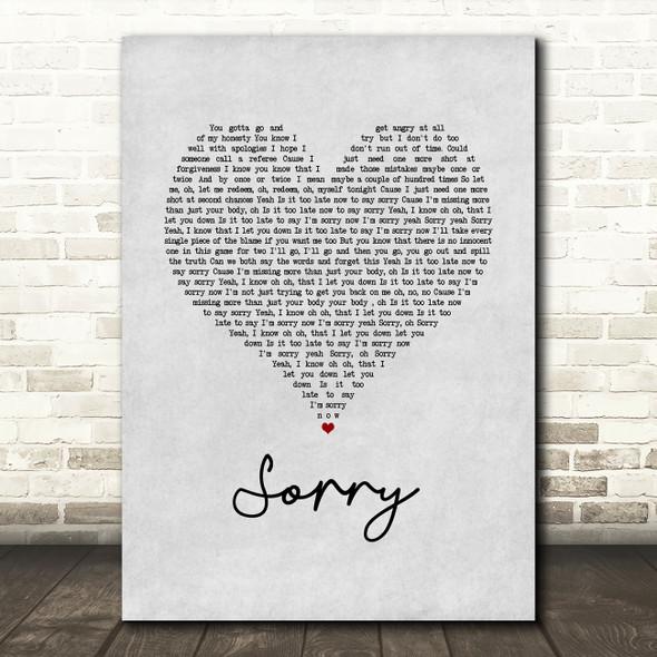 Justin Bieber Sorry Grey Heart Song Lyric Wall Art Print